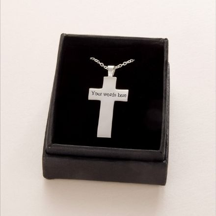 Engraved Silver Cross, Memorial Necklace